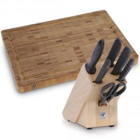 زويلينغ – طقم السكاكين من 7 قطع مع لوح تقطيع