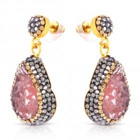 Guzel - Pink Quartz Teardrop Earrings