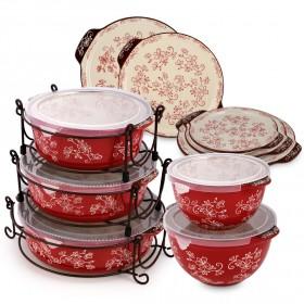 منال العالم - تمبتيشنز- طقم الخَبز 18 قطعة – فلورال لايس لون التوت الأحمر