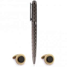 بالمان – قلم بتصميم المربعات وطلاء IPGun مع أزرار أكمام دائريّة ذهبية