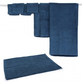 مايكروكوتن – طقم مناشف وسجّادة الحمّام من 8 قطع – أزرق مخضر