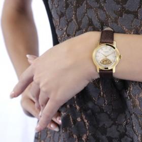 كلوجاو - ساعة باروك النسائية المطلية بالذهب الأصفر مع الألماس